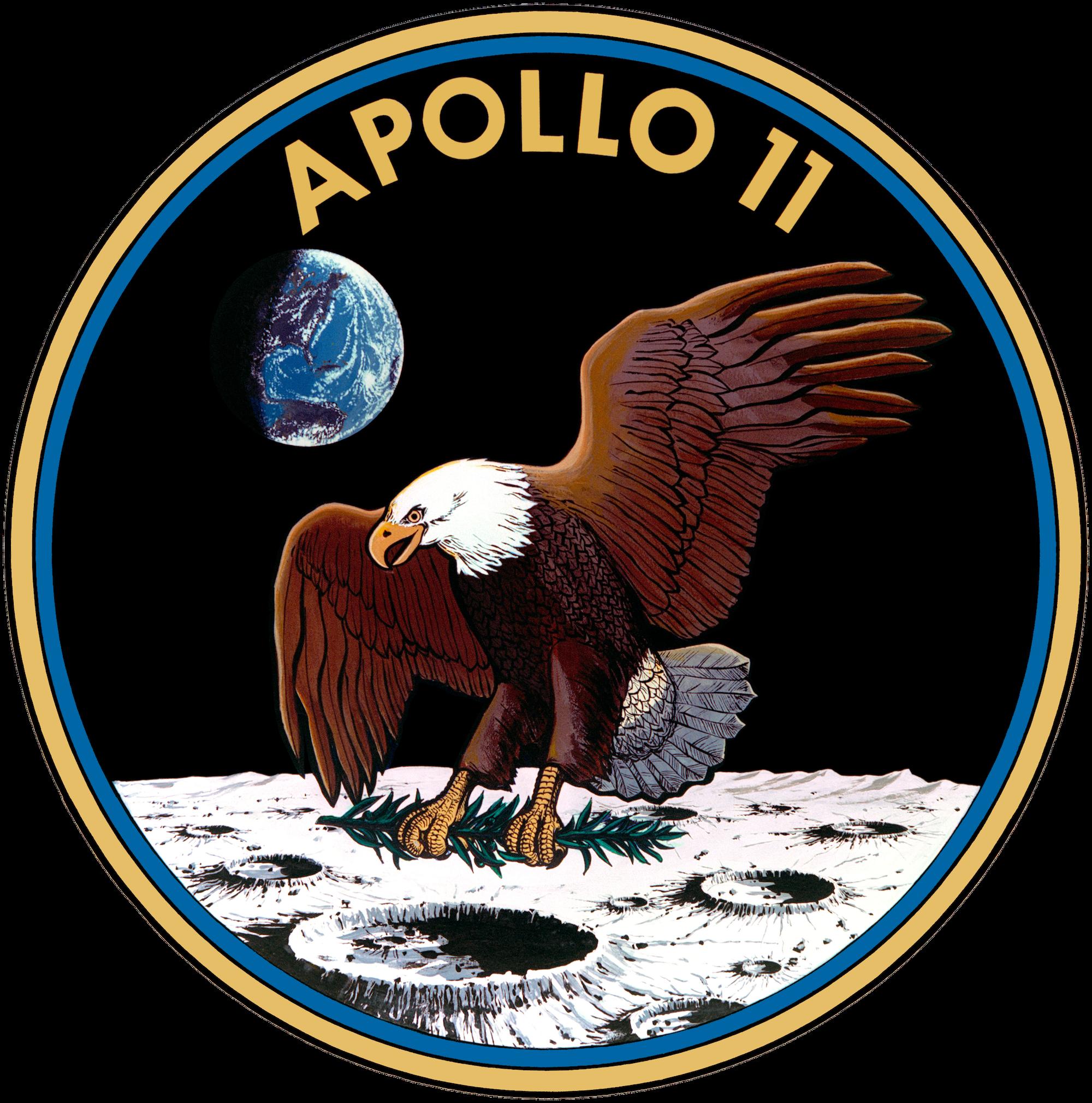 """Apollo 11 -lennon tunnus. Kuumoduuli kantoi nimeä Eagle (Kotka). Niinpä Kuuhun laskeuduttuaan astronautit ilmoittivat lennonjohtoon kuuluisan lauseensa: """"Kotka on laskeutunut"""". Kuva: Nasa."""