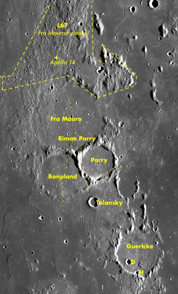 L67 (Fra Mauron ylänkö), Fra Mauro, Bonpland, Parry, Tolansky, Rimae Parry, Guericke (+H ja D) ja Apollo 14 laskeutumisalue. Kartta: Nasa / ASU / LRO WAC / Quickmap / P.C. Wirtanen.