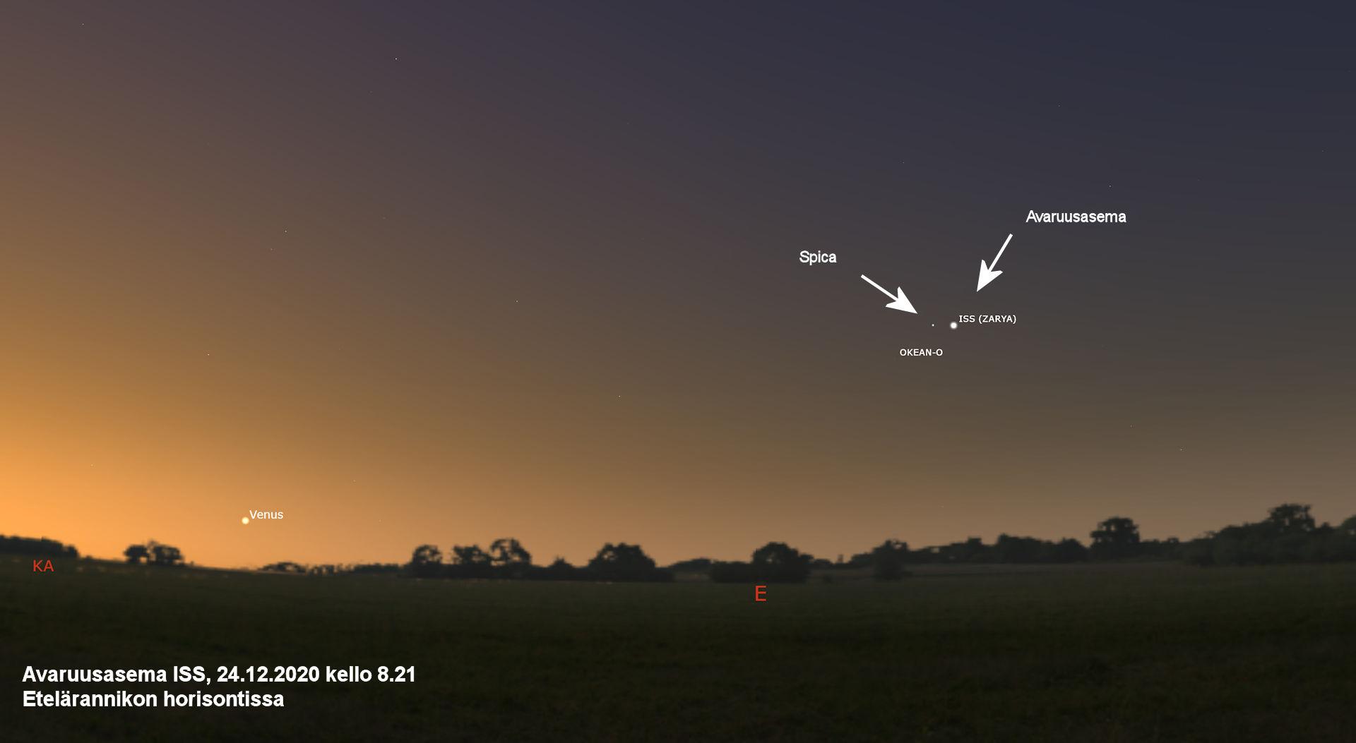 Avaruusasema etelärannikon horisontissa 24.12.2020 kello 8.21