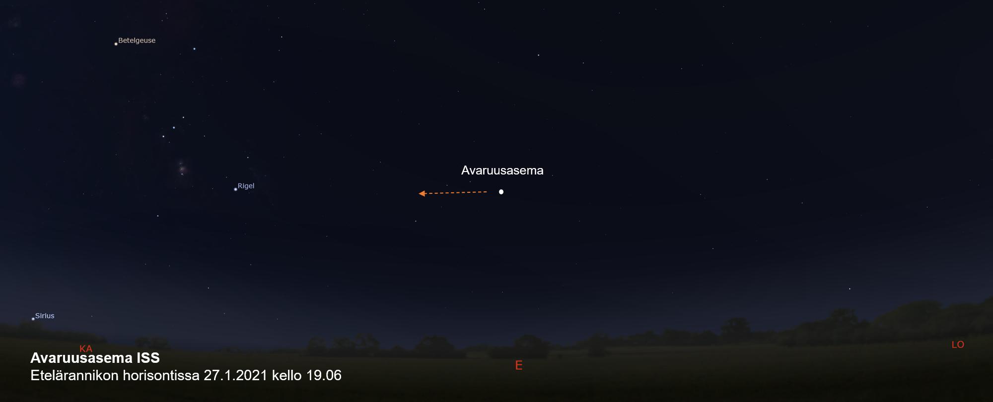 Avaruusasema ISS etelärannikon horisontissa