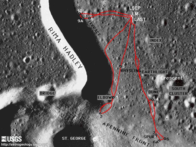 Tarkempi kartta laskeutumisalueesta, johon on merkitty myös tutkimusretket. Kuva: Yhdysvaltain geologian tutkimuskeskus USGS.