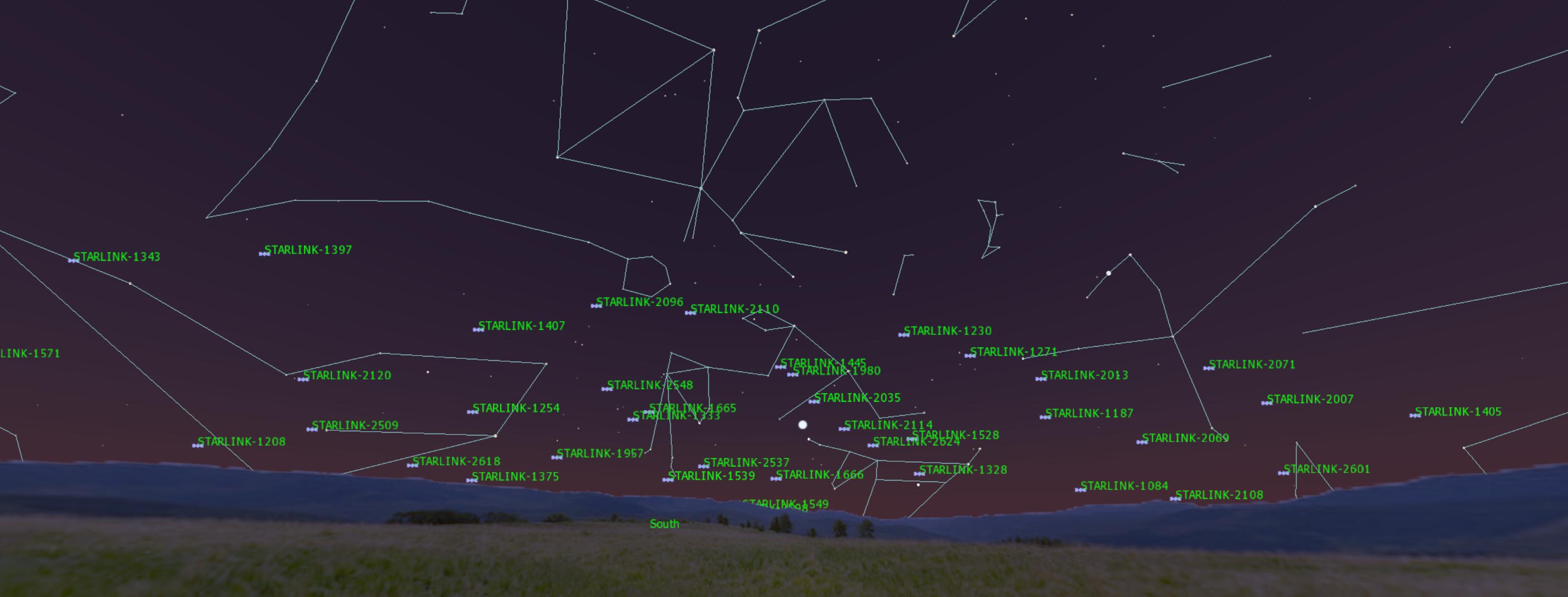 Starlink-satelliitit taivaalla